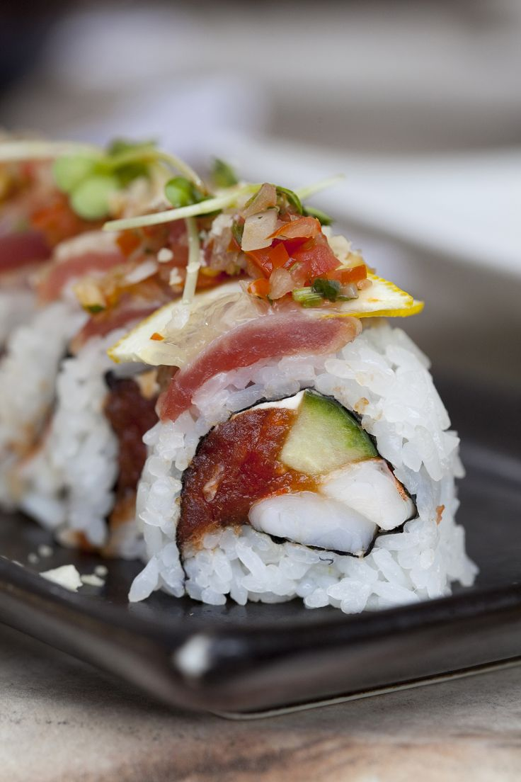 Mac Daddy Roll - Spicy tuna, ebi, cream cheese and cucumber inside ...