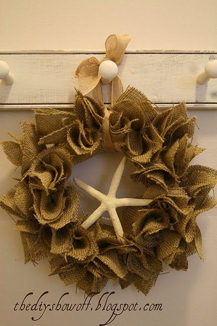 Diy burlap starfish wreath tutorial at diyshowoff com