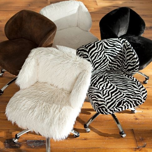 Luxe Fur Desk Chair PBteen My Space