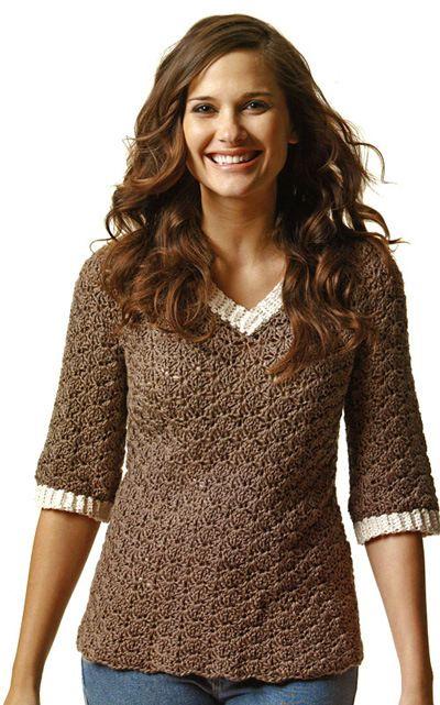 Free Crochet Pattern V Neck Pullover : Crochet V-Neck Sweater Pattern