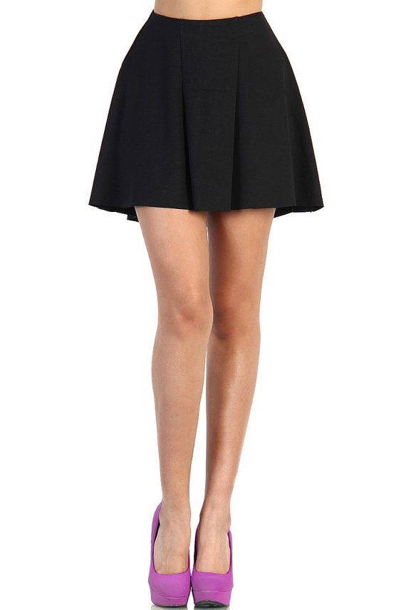 azkara women s high waist pleated flared skater skirt