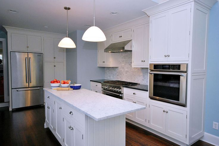 Painted White Kitchen Cabinets For An Elegant Country Kitchen Framed