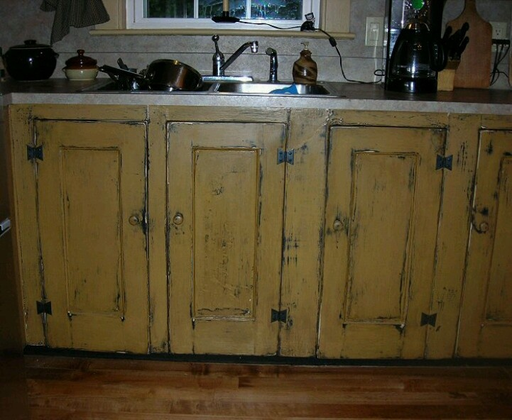 Mustard cabinets  For the Primitive Home  Pinterest