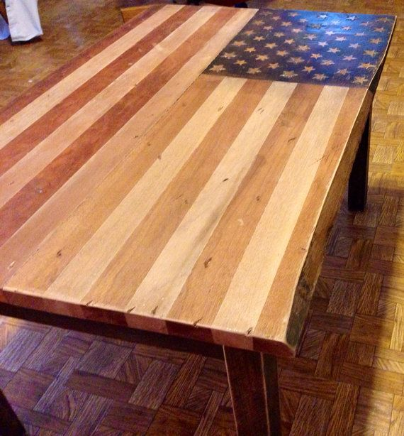 Rustic patriotic american flag coffee table stained cherry for Rustic cherry coffee table
