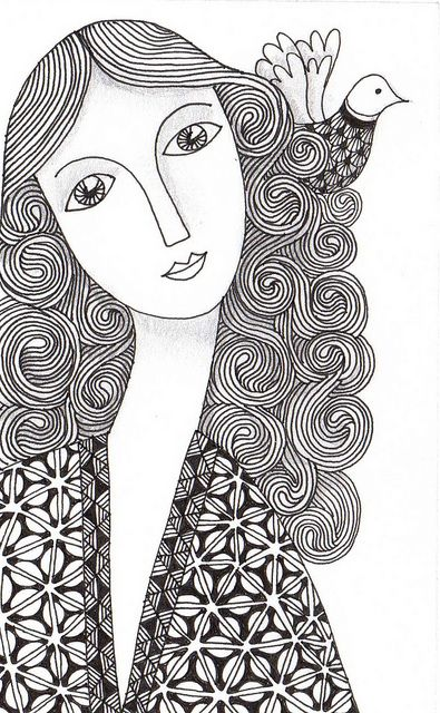 Zen faces 3320 flickr photo sharing zentangle for Doodle art faces