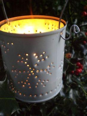 diy tin can lanterns with pattern ideas