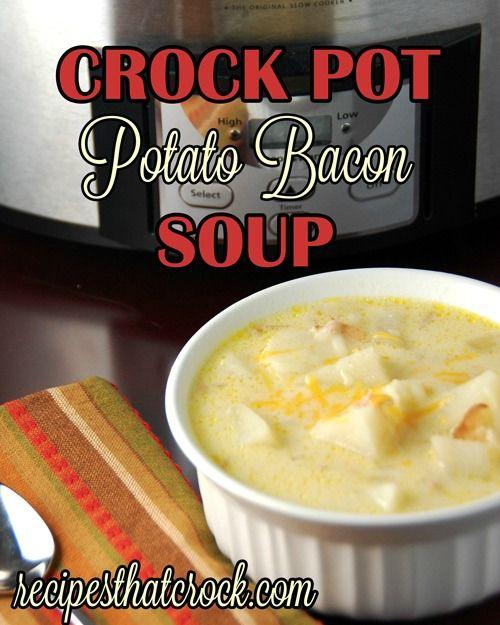 Crock Pot Potato Bacon Soup #crockpot