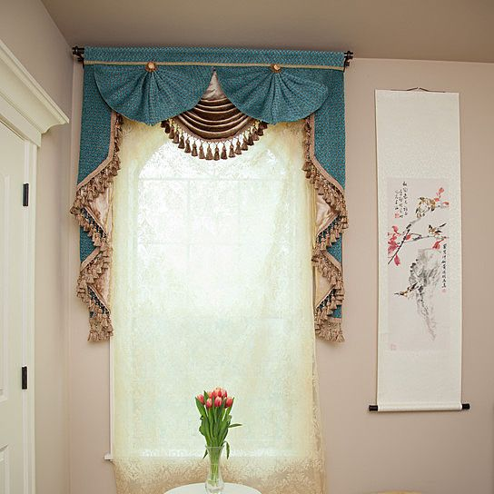 Blue Salon 50'' Swag and Tails Valance Curtains
