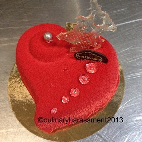 One. Chocolate Sponge, Amarena Cherry Compote, Pistachio Creme Brulee ...