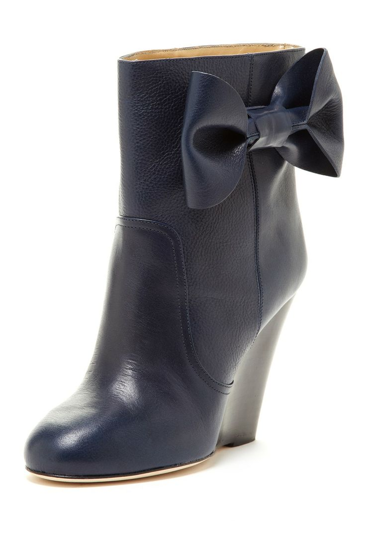 valentino bow wedge ankle boot shoes
