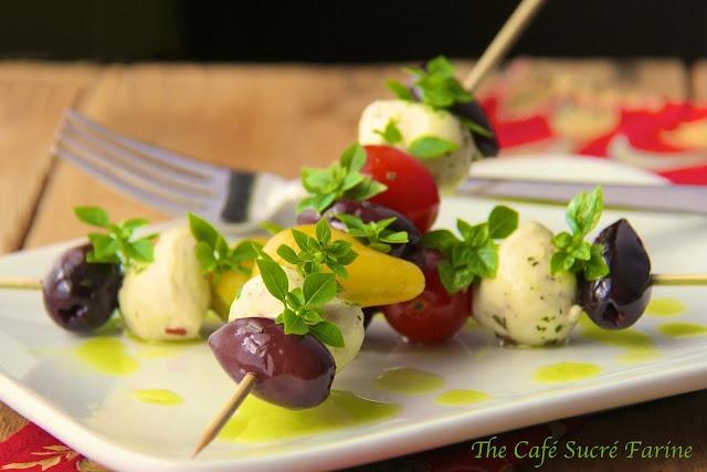 ... Summer Salad - Tuscan Tomato & Fresh Mozzarella Skewers w/ Basil Oil