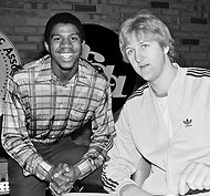 Magic Johnson and Larry Bird around the 1979 N.C.A.A. basketball championships.