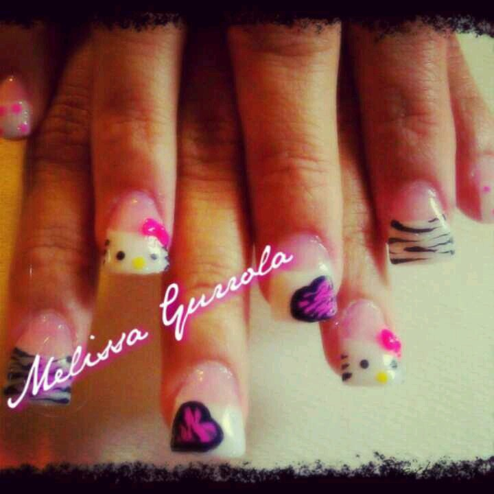Hello Kitty Acrylic Nails With Bows Hello Kitty Acrylic Nails