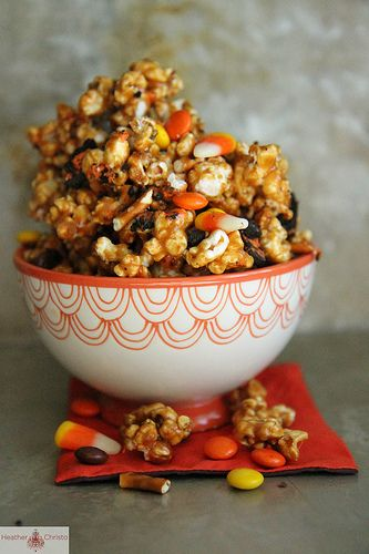Fall Caramel Corn- will just save this for next year as my kids cannot eat popcorn with their braces!  It just wouldn't be fair.