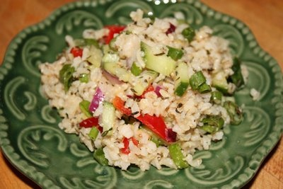 Chicken Brown Rice Salad with Apples, Red Pepper & Walnuts