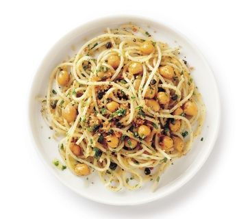 Crispy Chickpea and Caper Spaghetti