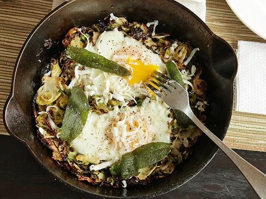 Brussels Sprouts Hash with Fried Sage and Soft Cooked Eggs   Recipe