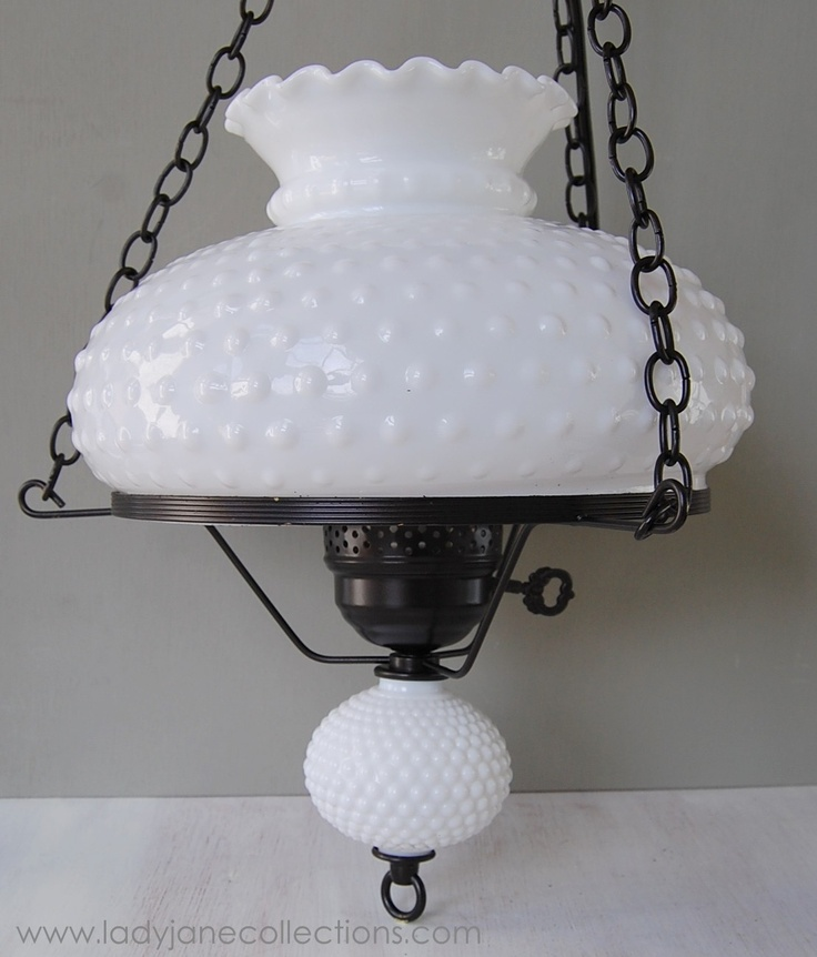vintage hobnail milk glass hanging lamp chandelier three