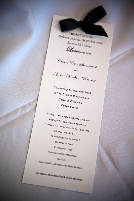 Diy wedding program print on heavy paper cut ribbon fray check
