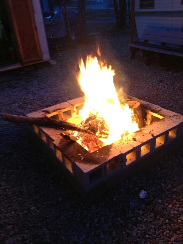 Easy cinder block fire pit for Fire pit easy