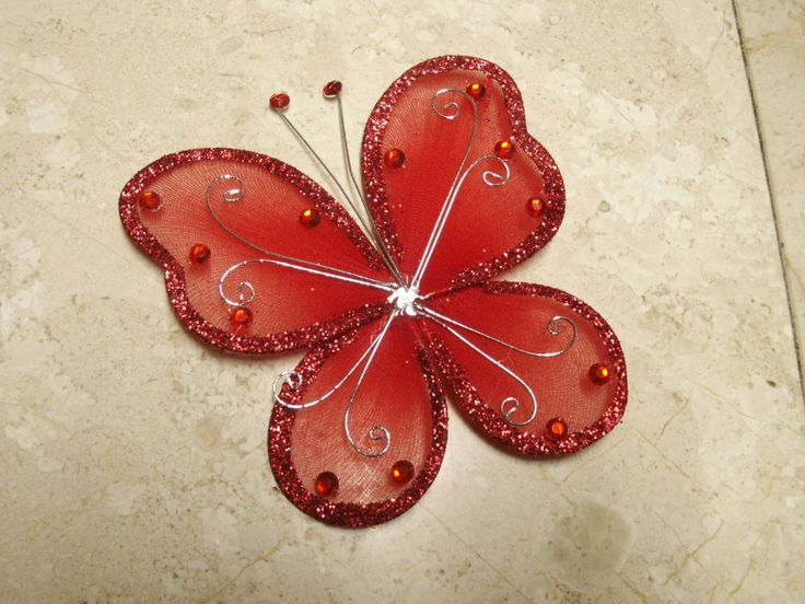 CRAFT SUPPLIES, 2 Red Butterflies, DIY Hair Accessories, Craft Decor
