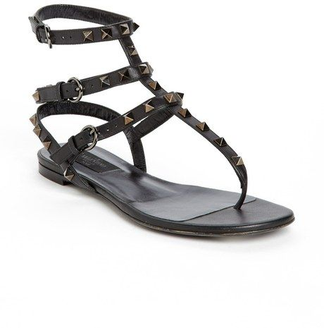 valentino rockstud noir patent sandal black