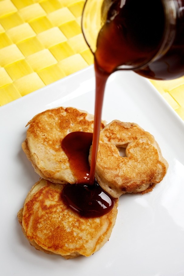 Batter-fried apple rings with apple cider syrup