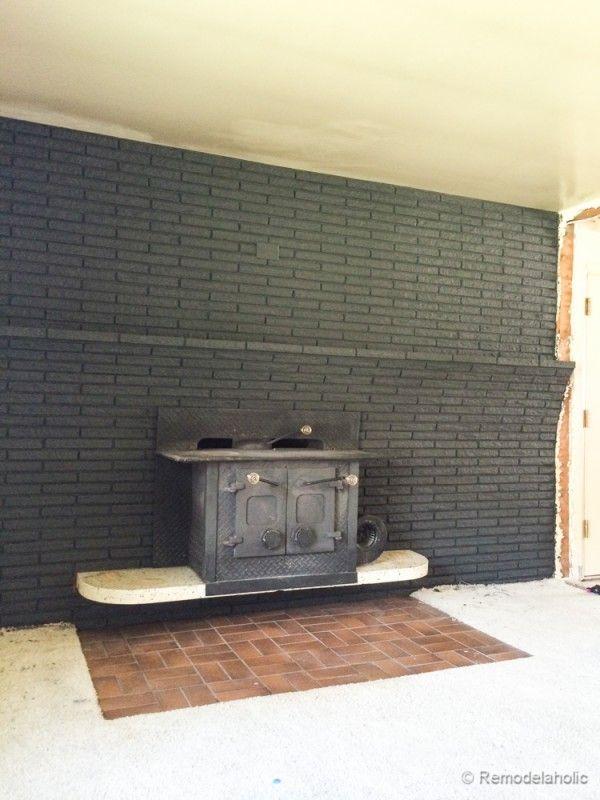 Fireplace Design paint brick fireplace : Black Painted Brick Fireplace - klejonka