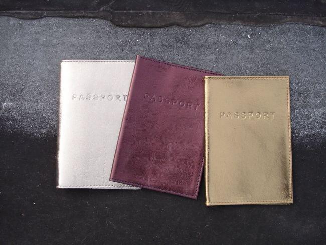 Metallic leather passport covers