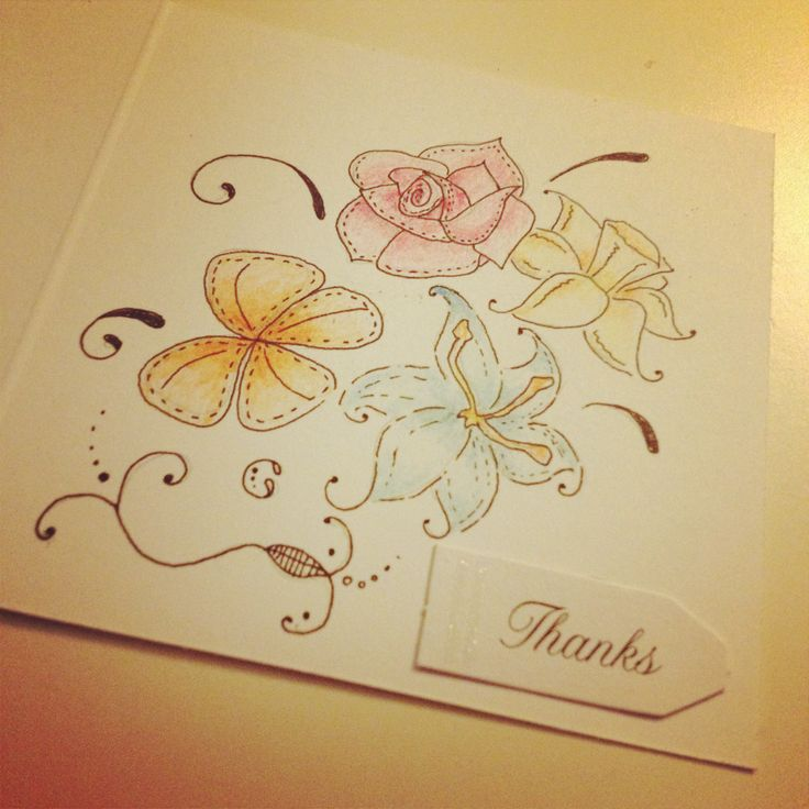Hand Drawn Thank You Card Cards Pinterest Thank You Cards Cards And Hands