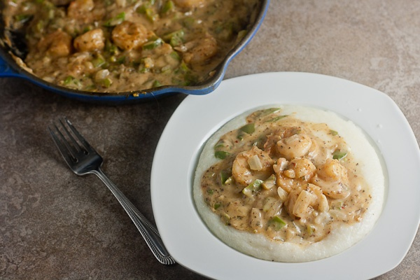 Shrimp and Grits with Creole Tomato Cream Sauce - Healthy Delicious
