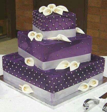 Purple Silver Studded Wedding Cake