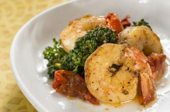 ... Garlic Shrimp with Roasted Tomatoes, Lemon Myrtle and Rapini.   Tasty