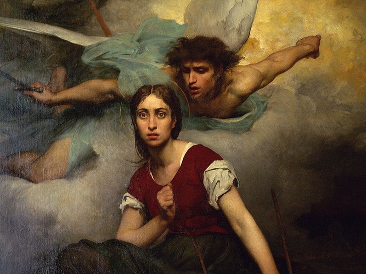 Eugene Thirion, The portrait depicts Joan of Arc's awe upon receiving a vision from the Archangel Michael, detail, 1876