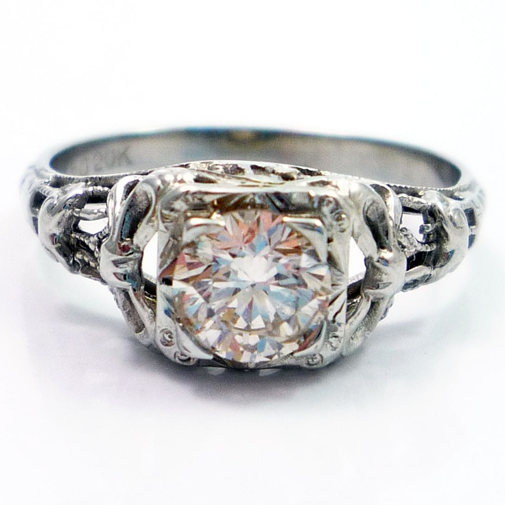 20K Antique Art Deco Diamond Filigree Engagement Ring
