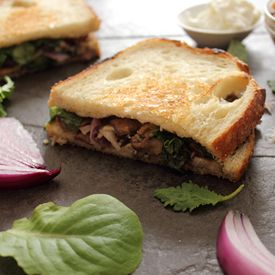 Mushroom and Rosemary Goat Cheese Sandwich with Red Onion