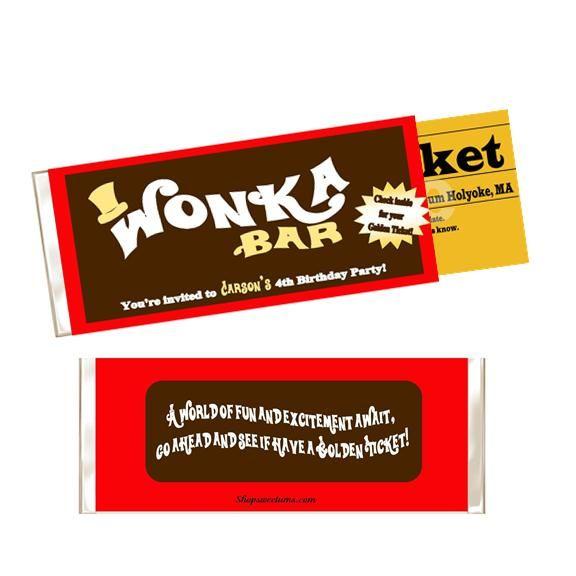 willy wonka candy bar invitation
