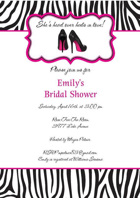 Bridal shower invitations zebra themed bridal shower invitations zebra bridal shower invitations stiletto shoes wedding shower filmwisefo