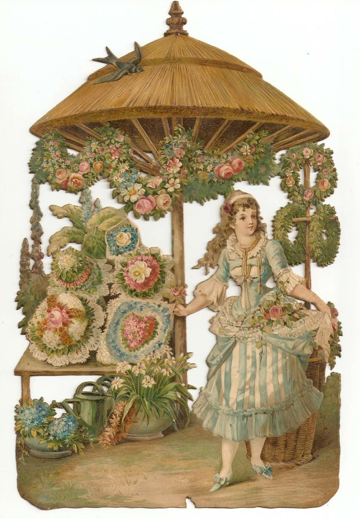 Victorian Die Cut Florist Flower Lady Store Market Shop Antique Bouquet Scrap