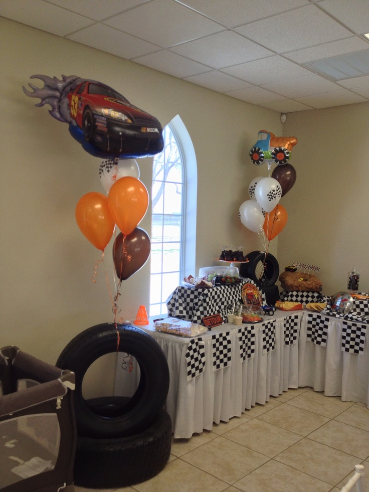 refreshment table for car themed baby shower