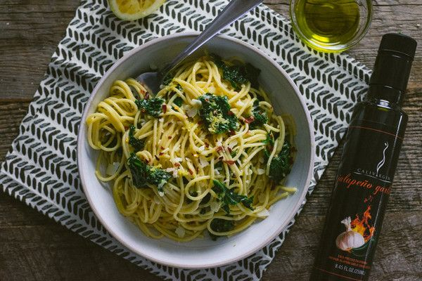 Spaghetti with Kale and Lemon and Jalapeno Garlic Olive Oil