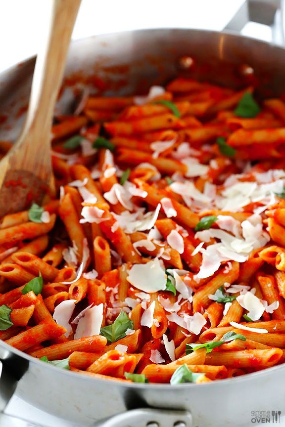 Pasta with Easy Roasted Red Pepper Sauce - made exactly like this ...