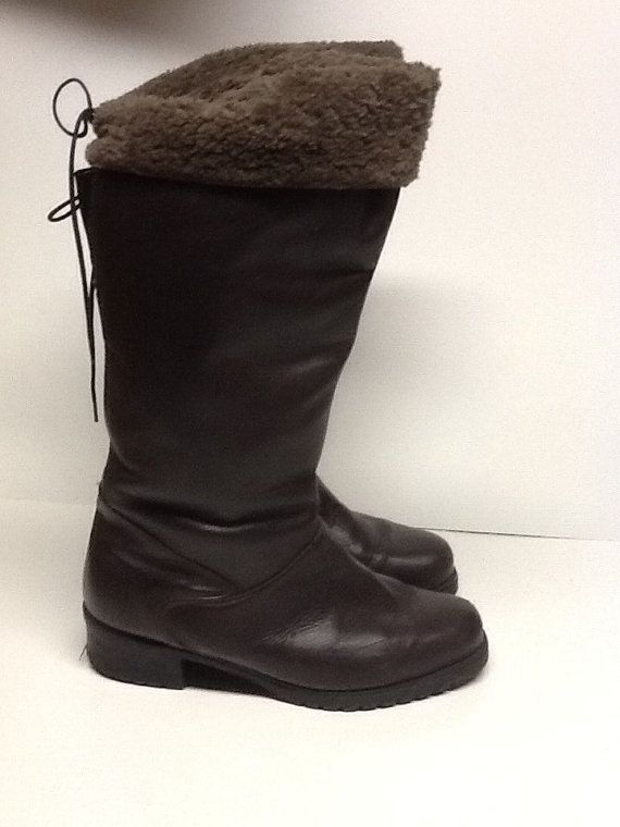 Vintage women s brown leather and fleece winter boots made in canada