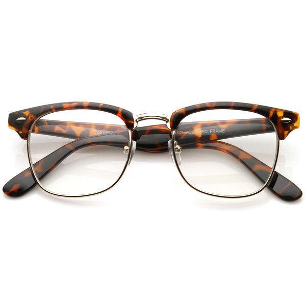Half Frame Clear Lens Glasses : Vintage Inspired Classic Horned Rim Half Frame Clear Lens ...
