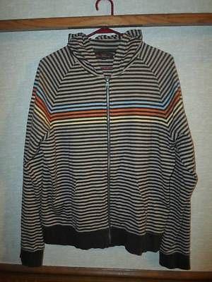 Ben Sherman Brown Striped Full Zip Hoodie XL Kangaroo Pocket Raglan
