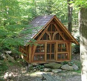 Cruck timber frame shelter pinterest for Cruck frame house plans
