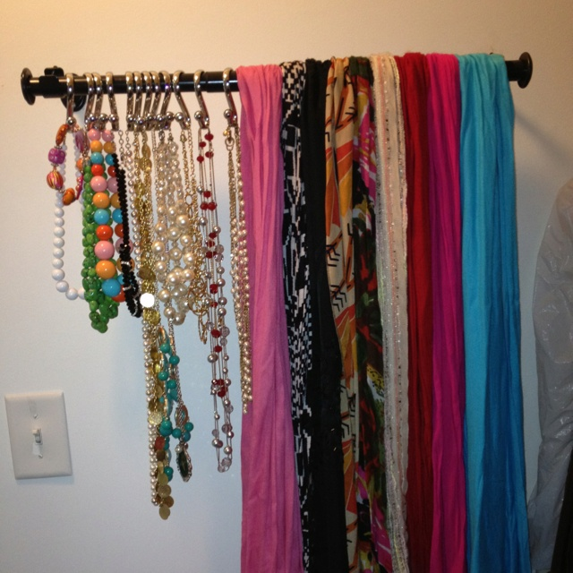 Scarves And Jewelry On A Curtain Rod House Stuff Pinterest
