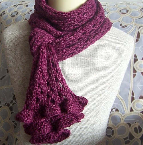 KNIT PATTERN  Romantic Ruffles and Lace Scarf by AlpacaYarnShop, $5.00