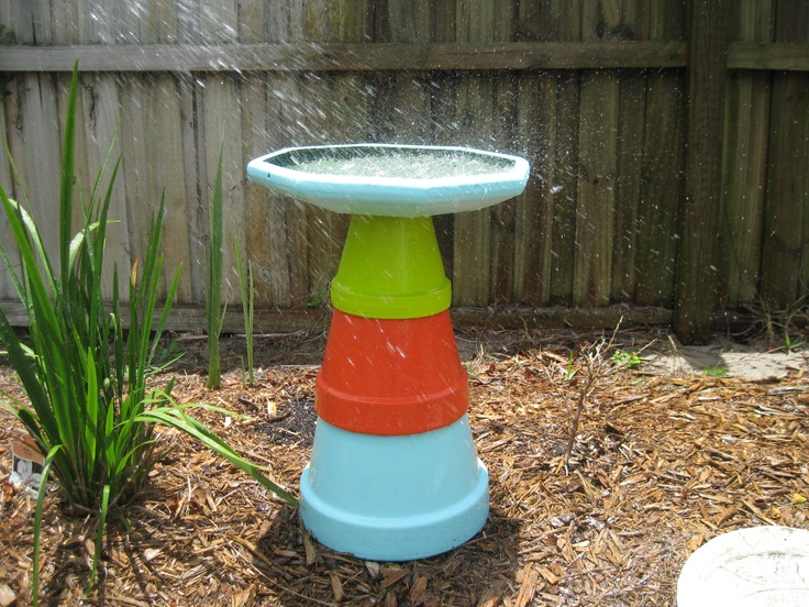 how to make a bird bath from clay pots