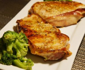 Bacon Wrapped Pork Chops with Garlic Lime Sauce